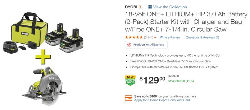 инструмент из Америки циркулярная пила RYOBI P508 с аккумуляторами